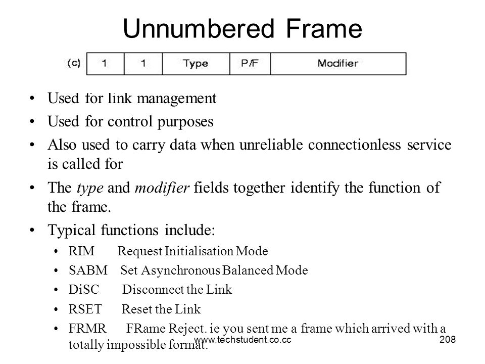www.techstudent.co.cc208 Unnumbered Frame Used for link management Used for control purposes Also used to carry data when unreliable connectionless se