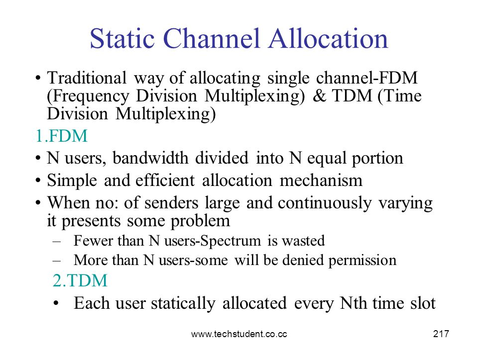 www.techstudent.co.cc217 Static Channel Allocation Traditional way of allocating single channel-FDM (Frequency Division Multiplexing) & TDM (Time Divi