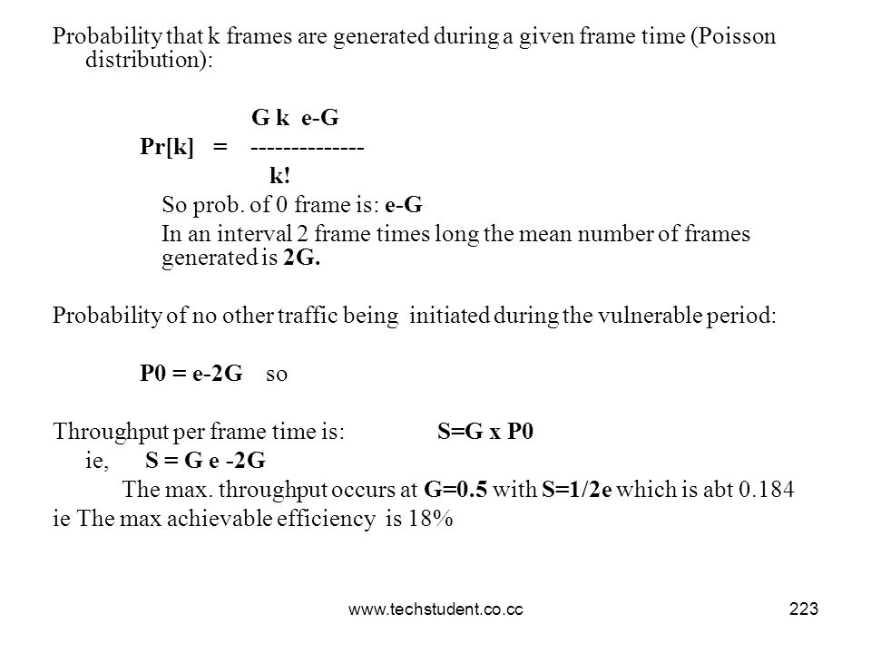 www.techstudent.co.cc223 Probability that k frames are generated during a given frame time (Poisson distribution): G k e-G Pr[k] = -------------- k! S