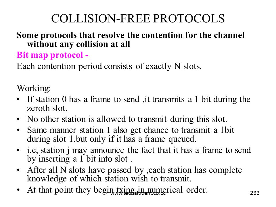 www.techstudent.co.cc233 COLLISION-FREE PROTOCOLS Some protocols that resolve the contention for the channel without any collision at all Bit map prot