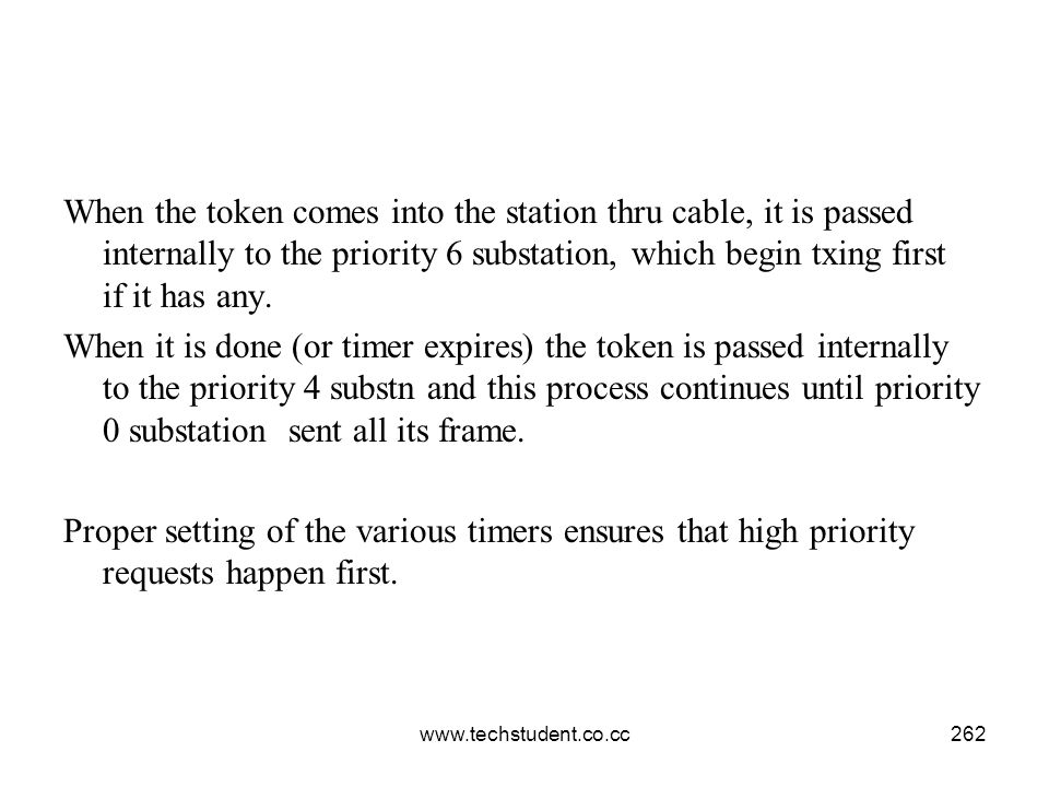 www.techstudent.co.cc262 When the token comes into the station thru cable, it is passed internally to the priority 6 substation, which begin txing fir