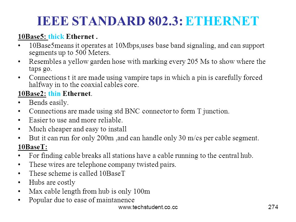 www.techstudent.co.cc274 IEEE STANDARD 802.3: ETHERNET 10Base5: thick Ethernet. 10Base5means it operates at 10Mbps,uses base band signaling, and can s