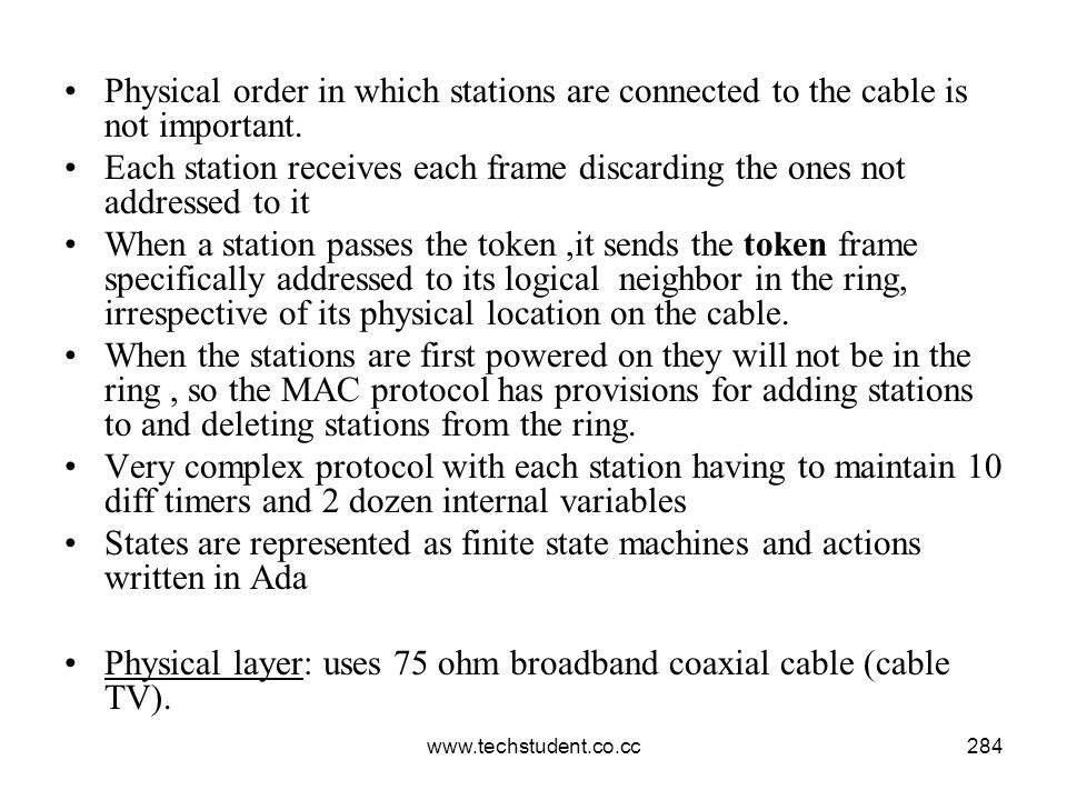 www.techstudent.co.cc284 Physical order in which stations are connected to the cable is not important. Each station receives each frame discarding the