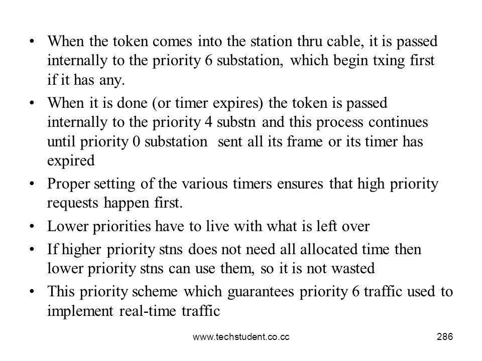 www.techstudent.co.cc286 When the token comes into the station thru cable, it is passed internally to the priority 6 substation, which begin txing fir