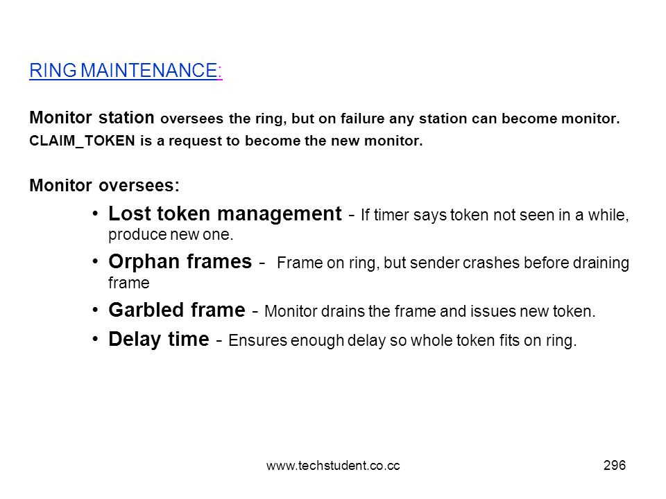 www.techstudent.co.cc296 RING MAINTENANCE: Monitor station oversees the ring, but on failure any station can become monitor. CLAIM_TOKEN is a request