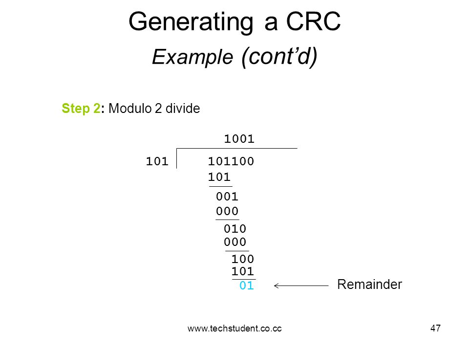 www.techstudent.co.cc47 Generating a CRC Example (cont'd) Step 2: Modulo 2 divide 101100101 001 000 010 000 100 101 01 1001 Remainder