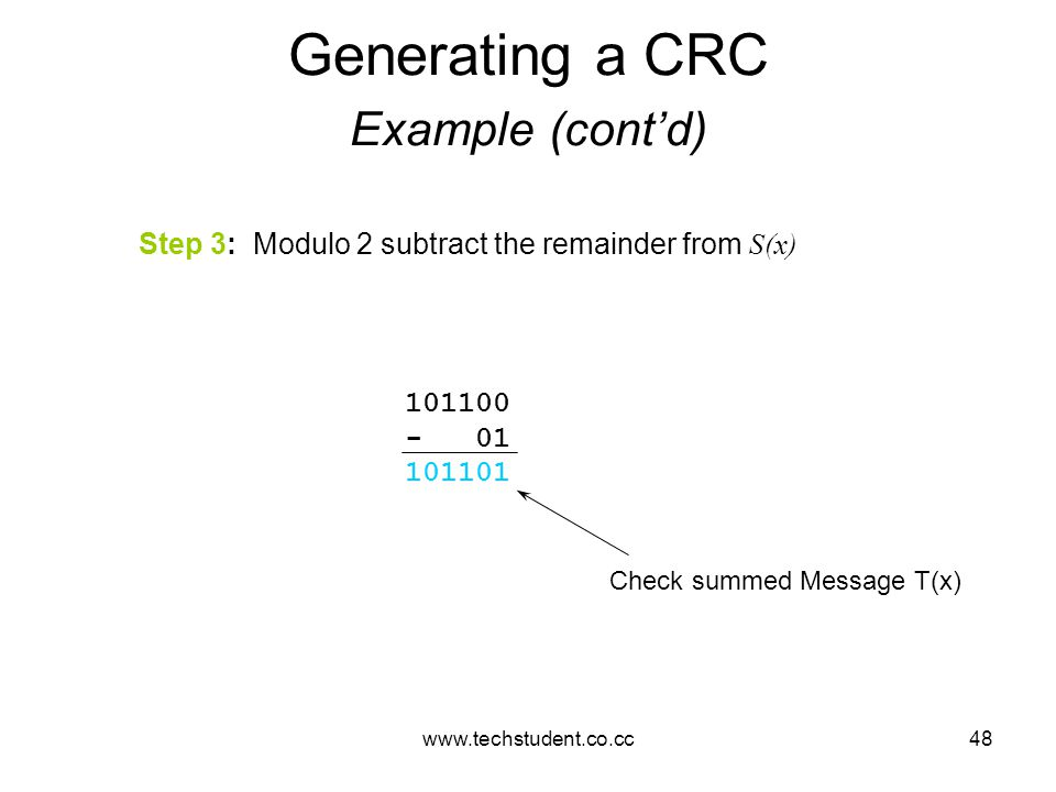 www.techstudent.co.cc48 Generating a CRC Example (cont'd) Step 3: Modulo 2 subtract the remainder from S(x) 101100 - 01 101101 Check summed Message T(