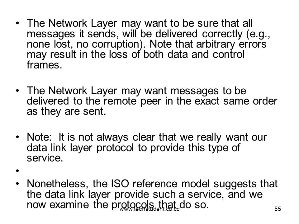www.techstudent.co.cc55 The Network Layer may want to be sure that all messages it sends, will be delivered correctly (e.g., none lost, no corruption)