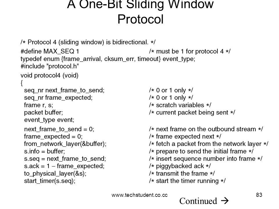 www.techstudent.co.cc83 A One-Bit Sliding Window Protocol Continued 