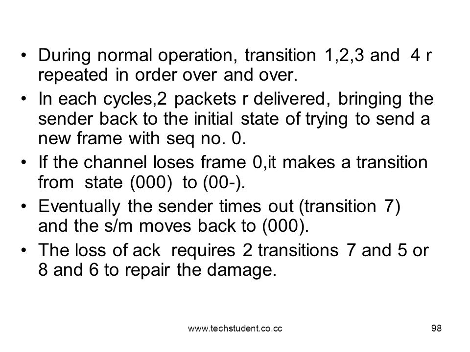 www.techstudent.co.cc98 During normal operation, transition 1,2,3 and 4 r repeated in order over and over. In each cycles,2 packets r delivered, bring