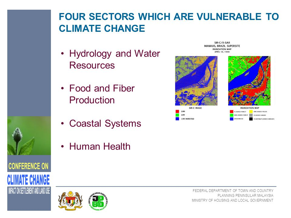 FEDERAL DEPARTMENT OF TOWN AND COUNTRY PLANNING PENINSULAR MALAYSIA MINISTRY OF HOUSING AND LOCAL GOVERNMENT FOUR SECTORS WHICH ARE VULNERABLE TO CLIM