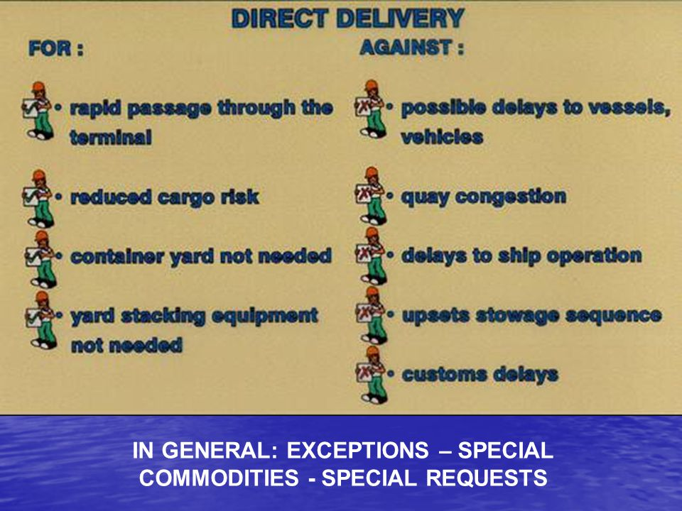 IN GENERAL: EXCEPTIONS – SPECIAL COMMODITIES - SPECIAL REQUESTS