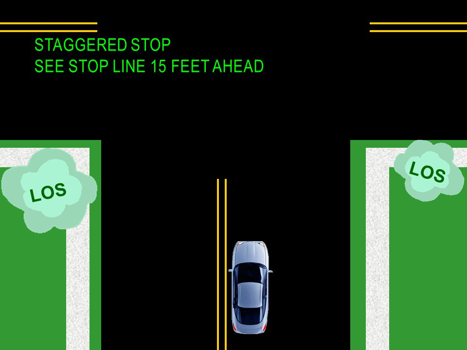 LOS STAGGERED STOP SEE STOP LINE 15 FEET AHEAD