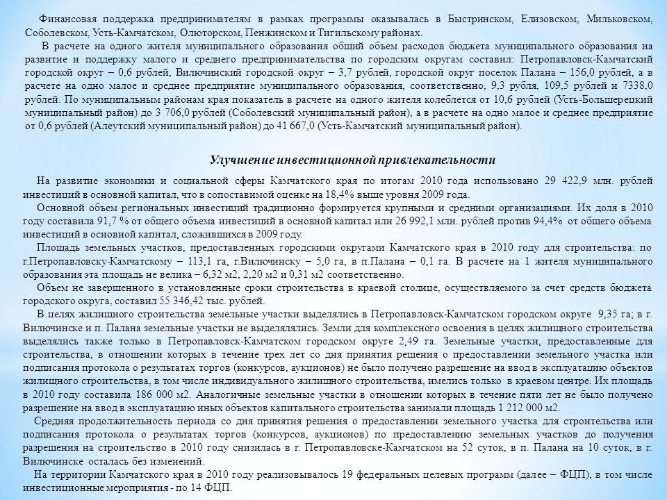 Улучшение инвестиционной привлекательности На развитие экономики и социальной сферы Камчатского края по итогам 2010 года использовано 29 422,9 млн.