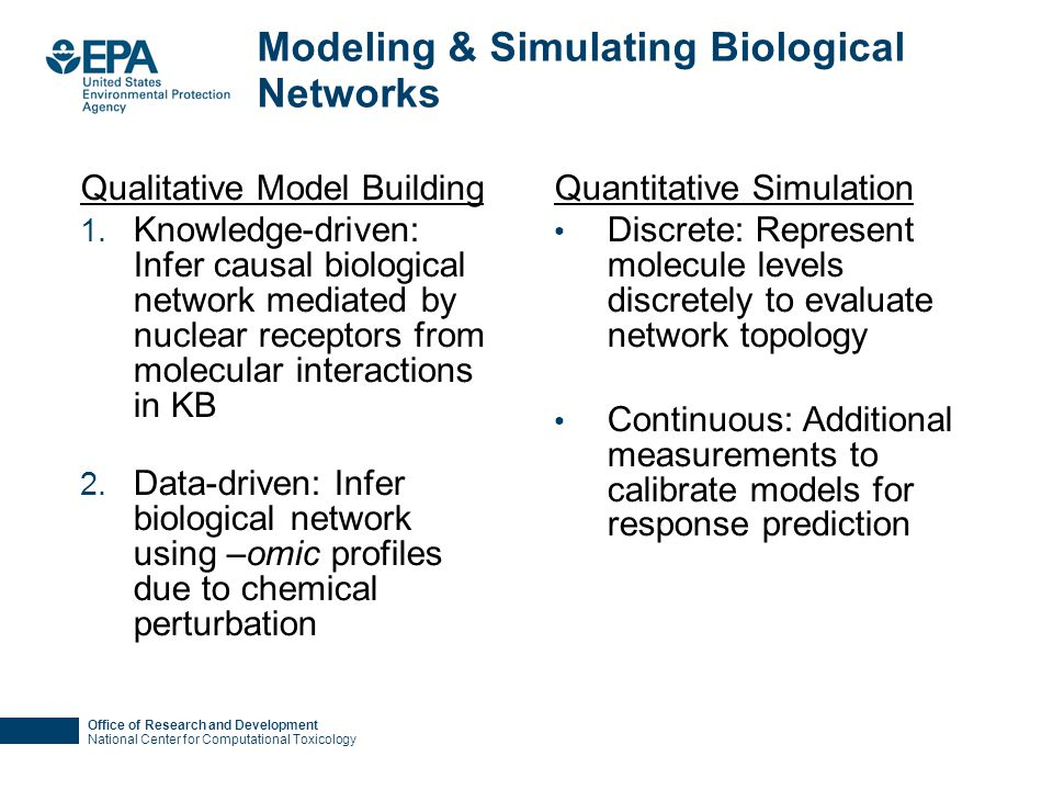 Office of Research and Development National Center for Computational Toxicology Modeling & Simulating Biological Networks Qualitative Model Building 1.