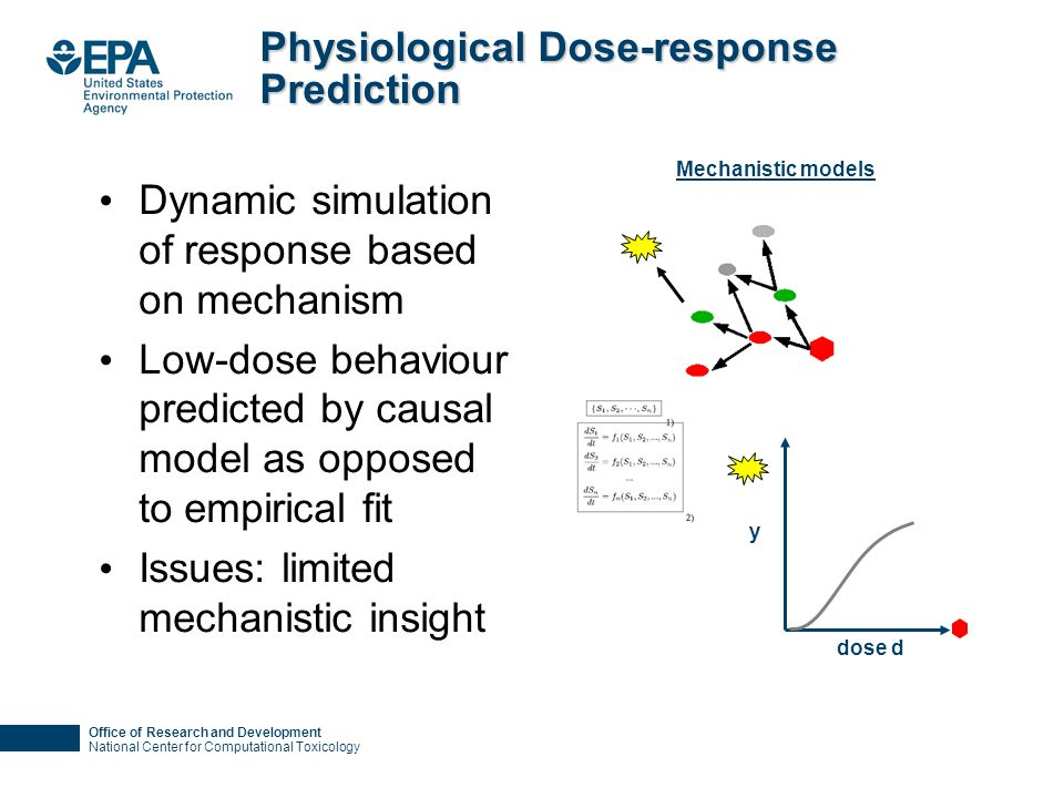 Office of Research and Development National Center for Computational Toxicology Physiological Dose-response Prediction Dynamic simulation of response based on mechanism Low-dose behaviour predicted by causal model as opposed to empirical fit Issues: limited mechanistic insight Mechanistic models dose d y