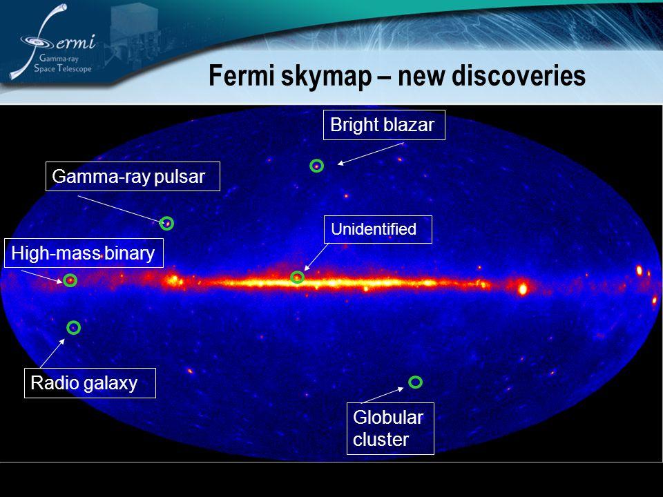 Fermi skymap – new discoveries Radio galaxy High-mass binary Gamma-ray pulsar Bright blazar Globular cluster Unidentified