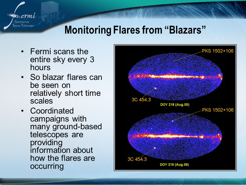 "Monitoring Flares from ""Blazars"" Fermi scans the entire sky every 3 hours So blazar flares can be seen on relatively short time scales Coordinated cam"