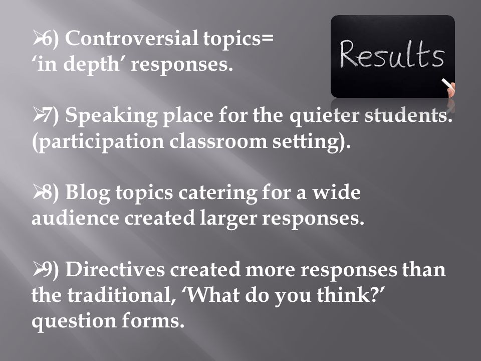  6) Controversial topics= 'in depth' responses.  7) Speaking place for the quieter students.