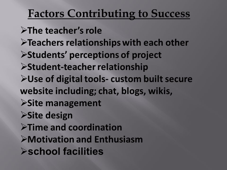  The teacher's role  Teachers relationships with each other  Students' perceptions of project  Student-teacher relationship  Use of digital tools- custom built secure website including; chat, blogs, wikis,  Site management  Site design  Time and coordination  Motivation and Enthusiasm  school facilities Factors Contributing to Success