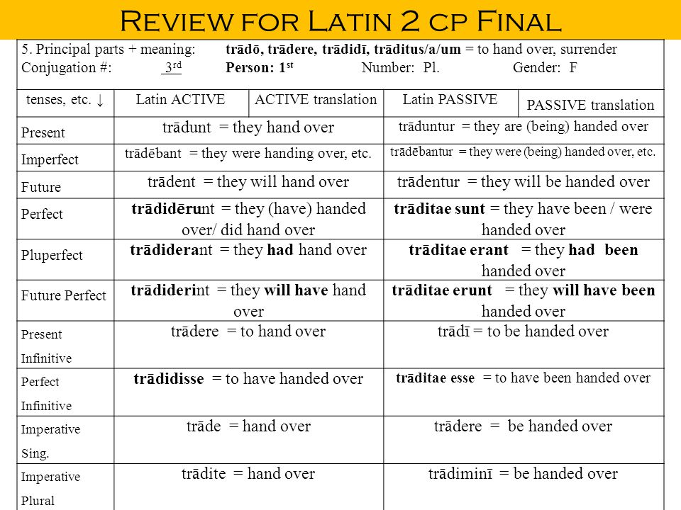 Review for Latin 2 cp Final 5.