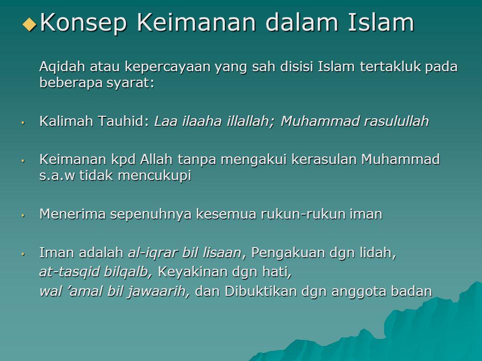  Konsep Keimanan dalam Islam Aqidah atau kepercayaan yang sah disisi Islam tertakluk pada beberapa syarat: Kalimah Tauhid: Laa ilaaha illallah; Muham