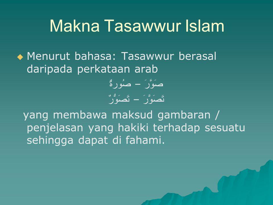 Makna Tasawwur Islam   Menurut bahasa: Tasawwur berasal daripada perkataan arab صَوَّرَ – صُورةٌ تَصَوَّرَ – تَصَوُّرٌ yang membawa maksud gambaran