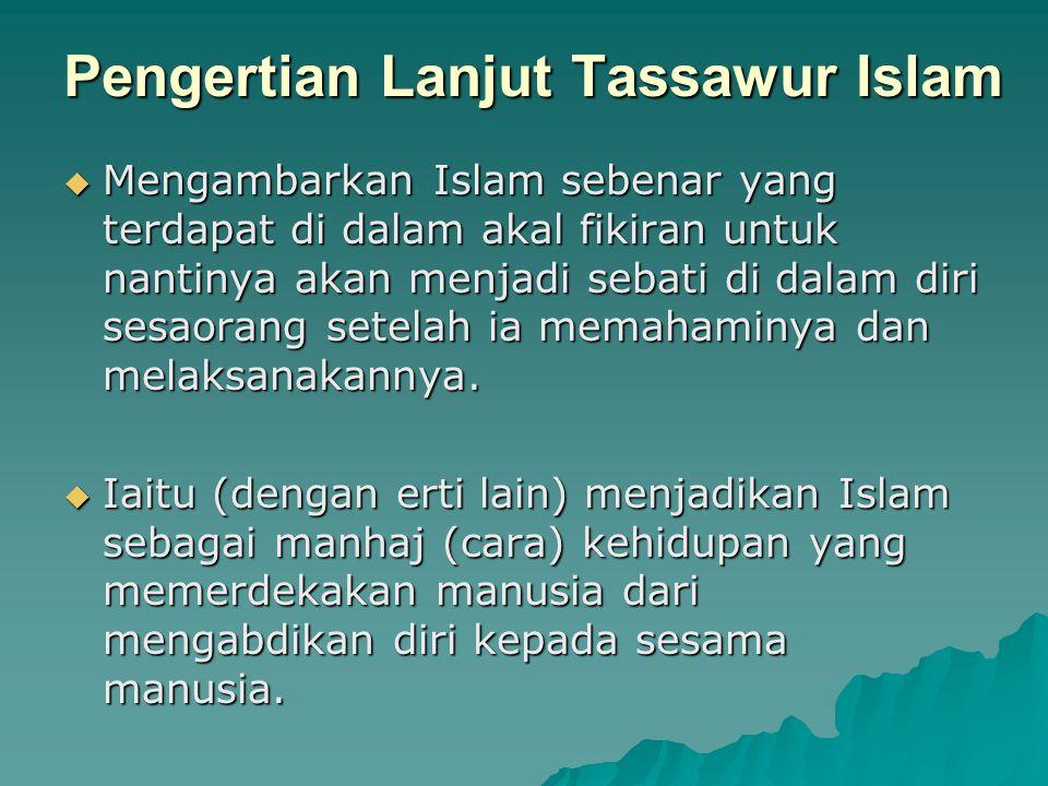Pengertian Lanjut Tassawur Islam  Mengambarkan Islam sebenar yang terdapat di dalam akal fikiran untuk nantinya akan menjadi sebati di dalam diri ses