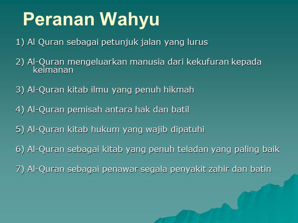 Peranan Wahyu 1) Al Quran sebagai petunjuk jalan yang lurus 2) Al-Quran mengeluarkan manusia dari kekufuran kepada keimanan 3) Al-Quran kitab ilmu yan