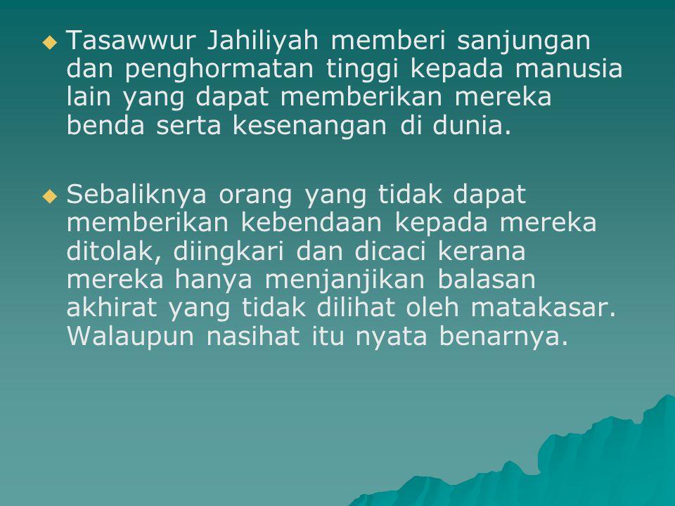Ciri-Ciri Tasawwur Islam   Rabbaniy – ( رَبَّانِيّ ) (Ketuhanan)   Syumuliy – ( شُمُوْلِيّ ) (Lengkap)   Waqi ' iy- ( وَاقِعِيٌّ ) (Sesuai dengan kehidupan manusia)   ' Alamiy – ( عَالَمِيّ ) (Sejagat)