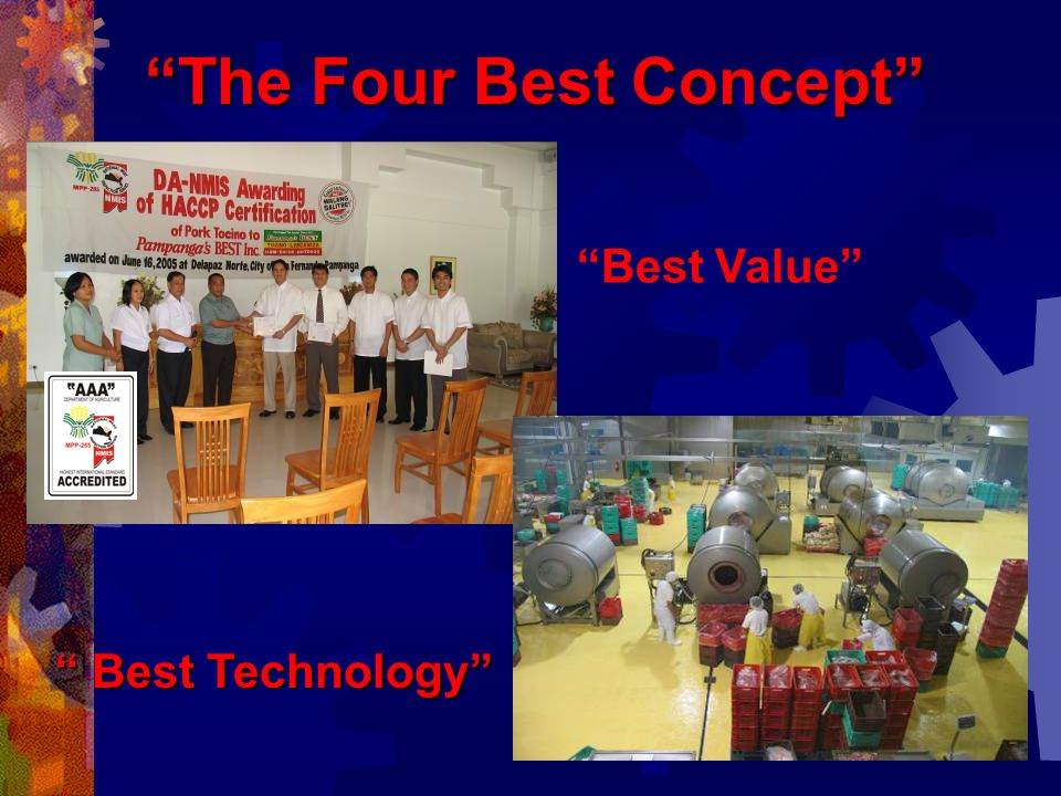 Vision and Mission: To be a world class corporation by adapting the Four Best Concept.