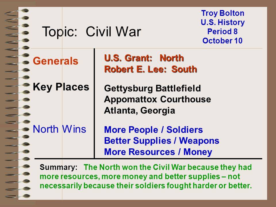 Troy Bolton U.S. History Period 8 October 10 Topic: Civil War Generals Key Places North Wins U.S. Grant: North Robert E. Lee: South Gettysburg Battlef