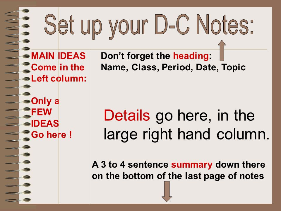 Notes go here, in the large right hand column.Questions, subtitles, etc.