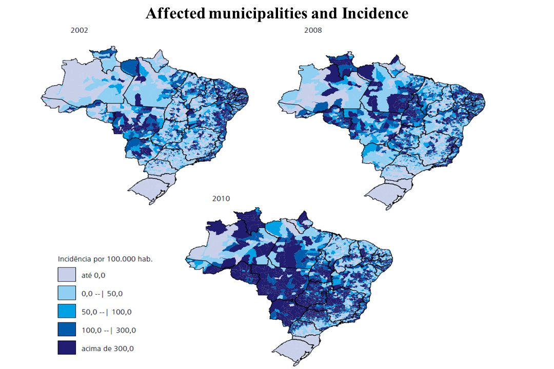Affected municipalities and Incidence