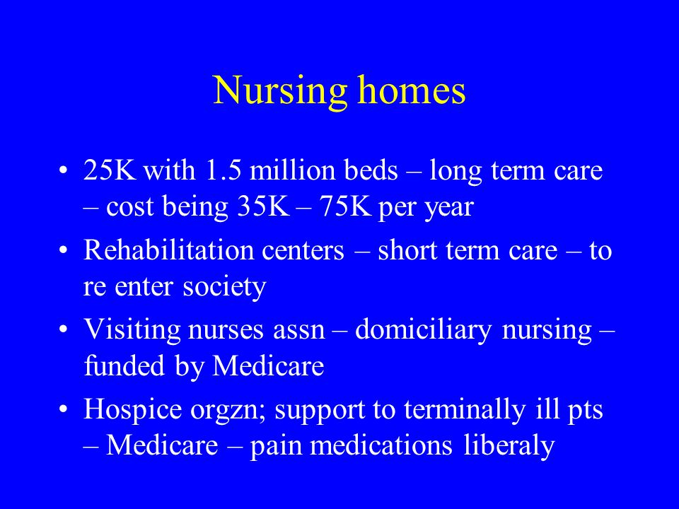 Nursing homes 25K with 1.5 million beds – long term care – cost being 35K – 75K per year Rehabilitation centers – short term care – to re enter society Visiting nurses assn – domiciliary nursing – funded by Medicare Hospice orgzn; support to terminally ill pts – Medicare – pain medications liberaly