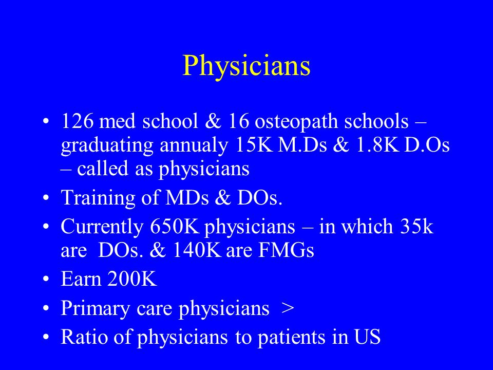 Physicians 126 med school & 16 osteopath schools – graduating annualy 15K M.Ds & 1.8K D.Os – called as physicians Training of MDs & DOs.