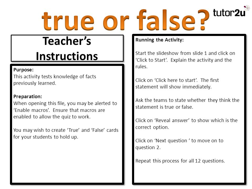 Teacher's Instructions Purpose: This activity tests knowledge of facts previously learned.