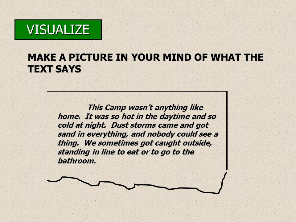 VISUALIZE MAKE A PICTURE IN YOUR MIND OF WHAT THE TEXT SAYS This Camp wasn't anything like home. It was so hot in the daytime and so cold at night. Du