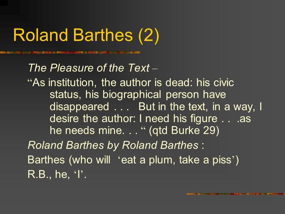Roland Barthes (2) The Pleasure of the Text – As institution, the author is dead: his civic status, his biographical person have disappeared...