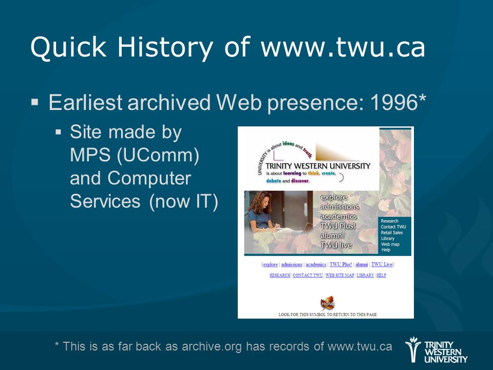 Quick History of www.twu.ca  Earliest archived Web presence: 1996*  Site made by MPS (UComm) and Computer Services (now IT) * This is as far back as archive.org has records of www.twu.ca