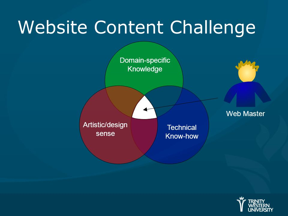 Website Content Challenge Web Master Artistic/design sense Technical Know-how Domain-specific Knowledge