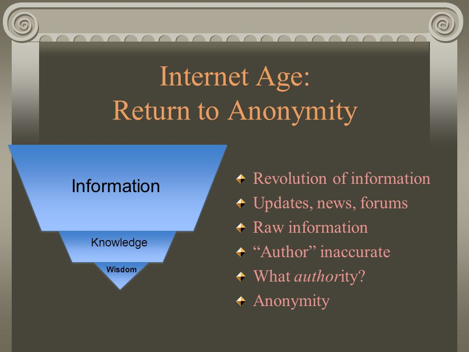 """Internet Age: Return to Anonymity Revolution of information Updates, news, forums Raw information """"Author"""" inaccurate What authority? Anonymity Inform"""