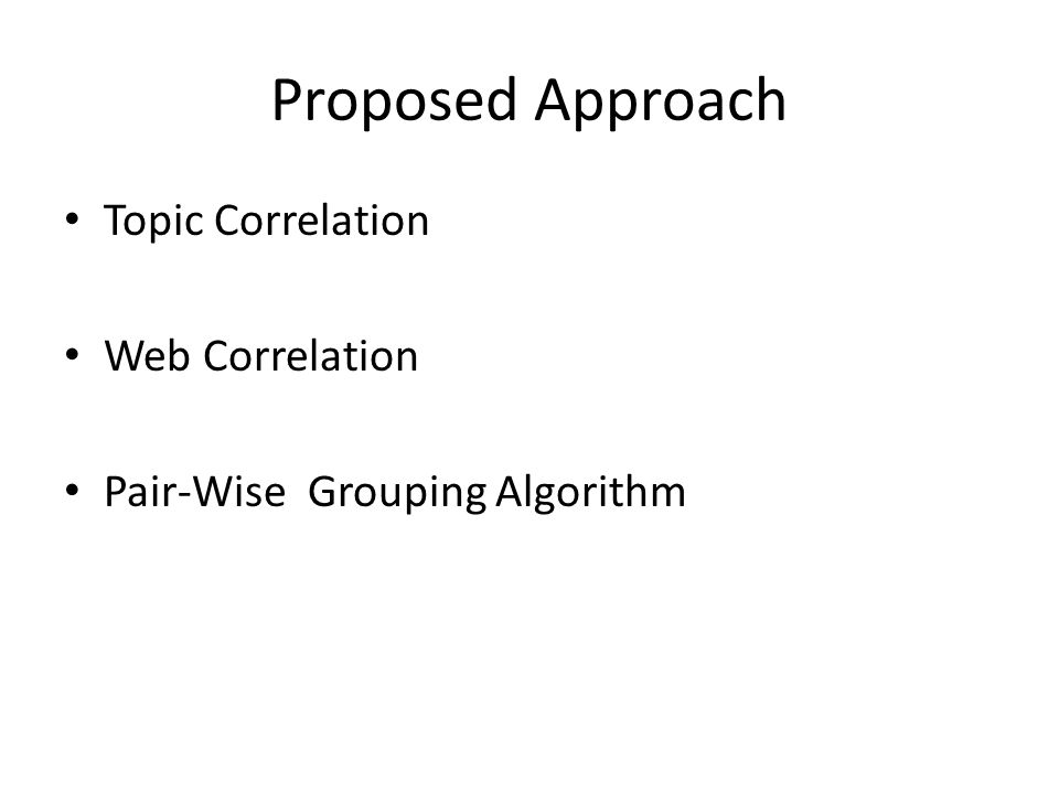 Proposed Approach Topic Correlation Web Correlation Pair-Wise Grouping Algorithm