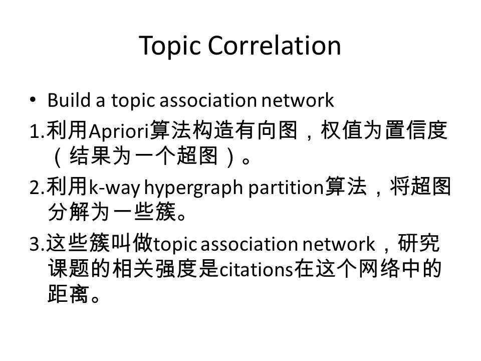 Topic Correlation Build a topic association network 1. 利用 Apriori 算法构造有向图,权值为置信度 (结果为一个超图)。 2. 利用 k-way hypergraph partition 算法,将超图 分解为一些簇。 3. 这些簇叫做 t