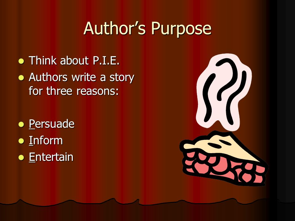 Author's Purpose Think about P.I.E.Think about P.I.E.