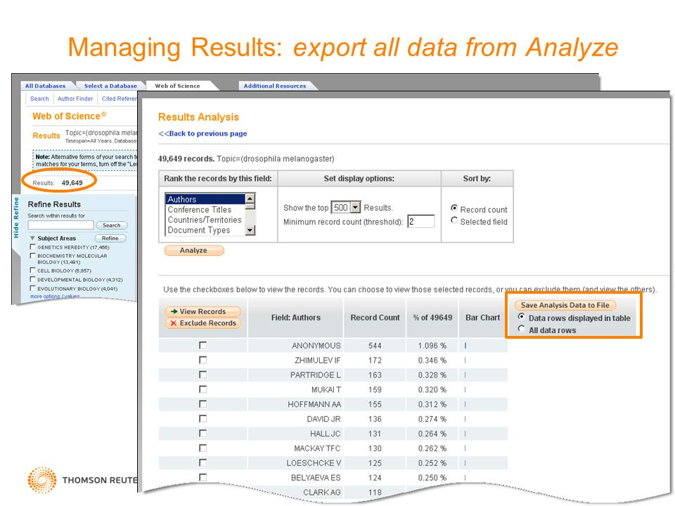 14 Managing Results: export all data from Analyze