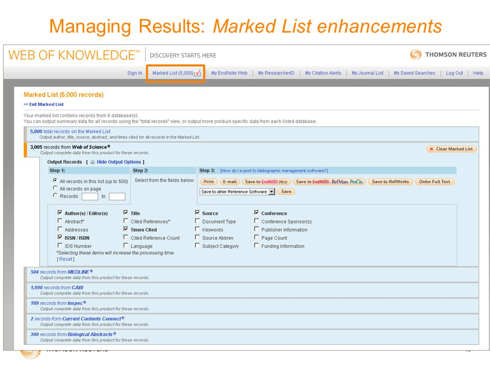 15 Managing Results: Marked List enhancements