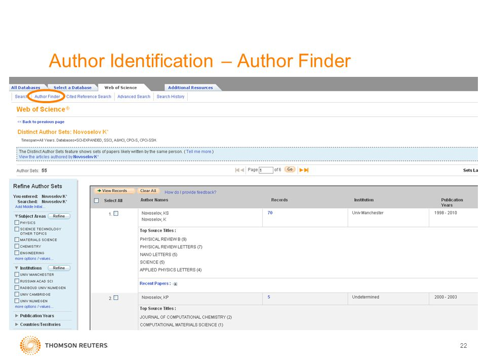 22 Author Identification – Author Finder