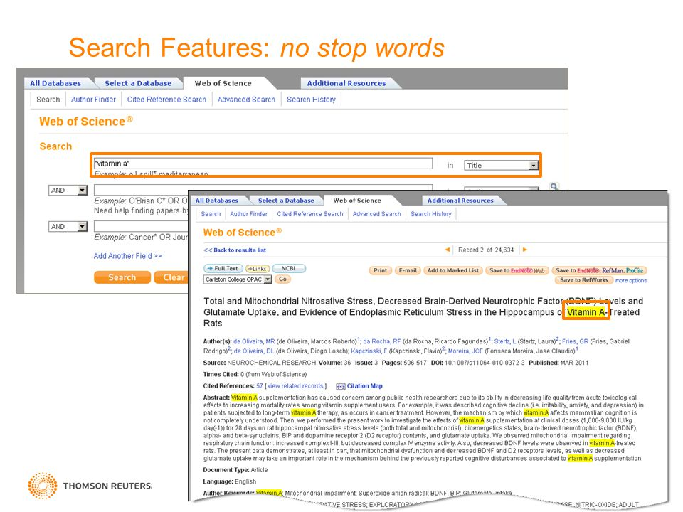 5 Search Features: no stop words
