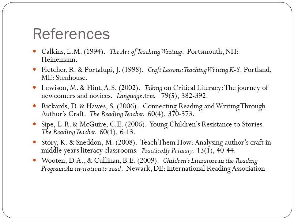References Calkins, L.M. (1994). The Art of Teaching Writing. Portsmouth, NH: Heinemann. Fletcher, R. & Portalupi, J. (1998). Craft Lessons: Teaching